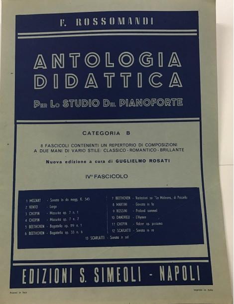 ROSSOMANDI ANTOLOGIA DIDATTICA CATEGORIA B VOL . IV