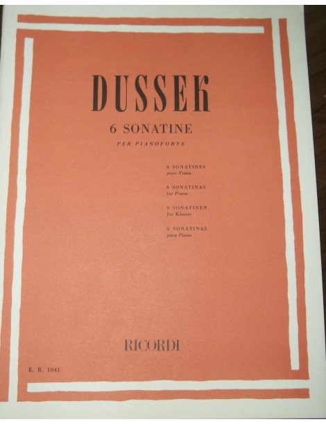 DUSSEK SEI SONATINE OP 20 PER PIANOFORTE