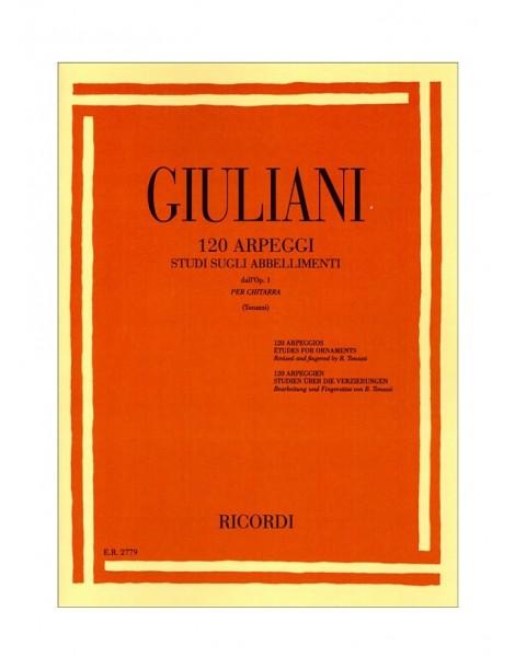 GIULIANI 120 ARPEGGI STUDI SUGLI ABBELLIMENTI OP1 PER CHITARRA
